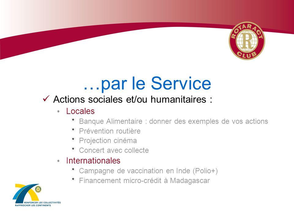 …par le Service Actions sociales et/ou humanitaires : Locales