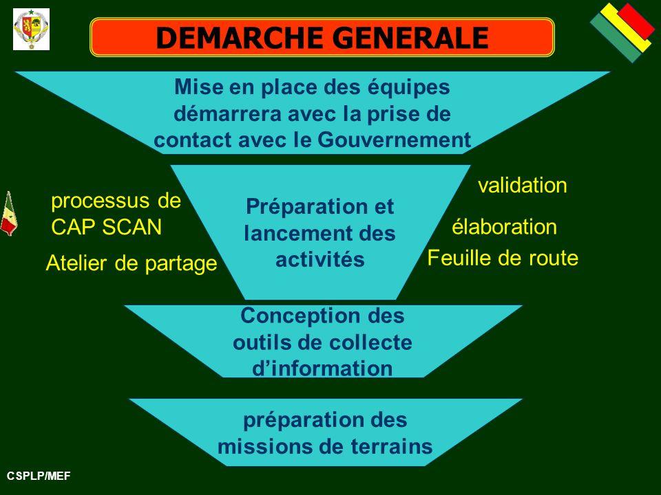DEMARCHE GENERALE Mise en place des équipes démarrera avec la prise de contact avec le Gouvernement.
