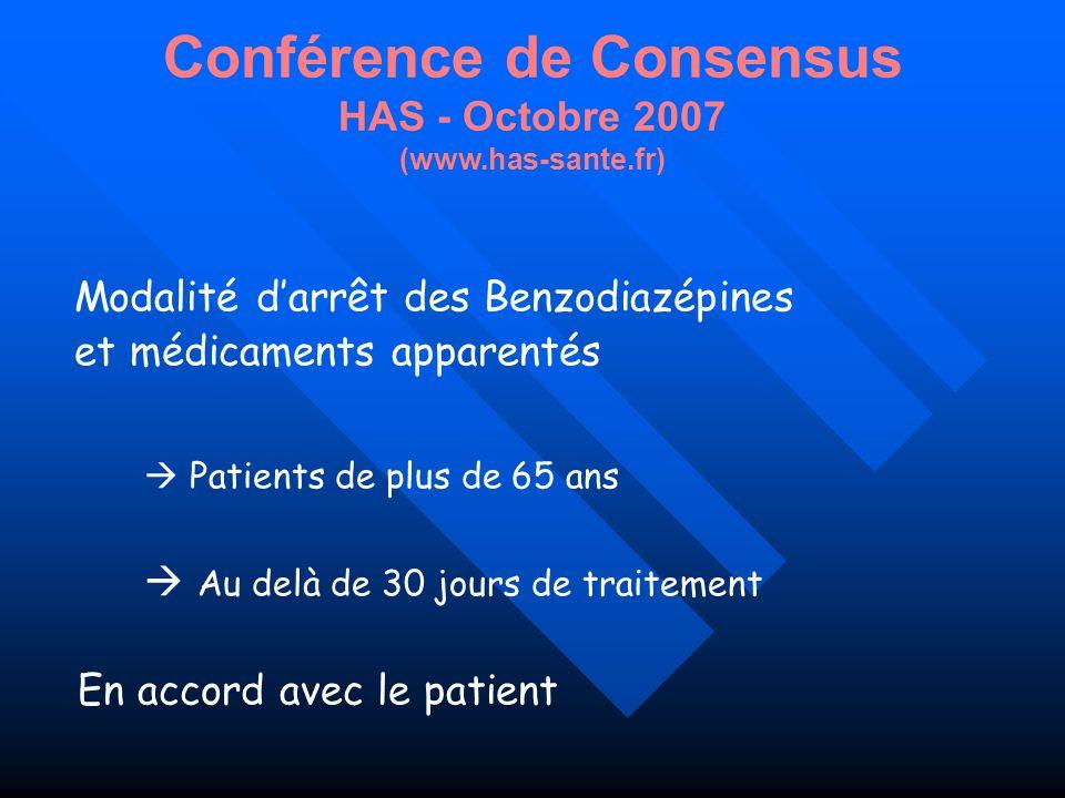 Conférence de Consensus HAS - Octobre 2007 (www.has-sante.fr)