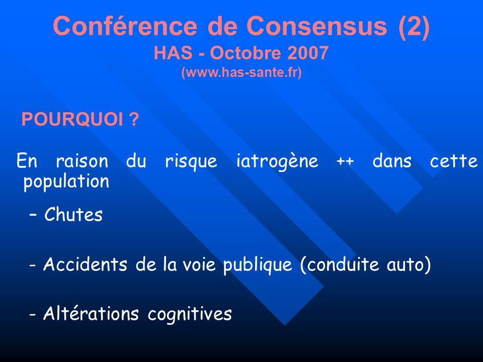 Conférence de Consensus (2) HAS - Octobre 2007 (www.has-sante.fr)