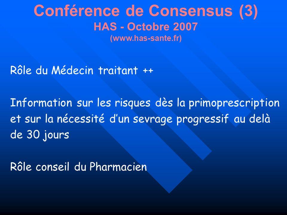 Conférence de Consensus (3) HAS - Octobre 2007 (www.has-sante.fr)