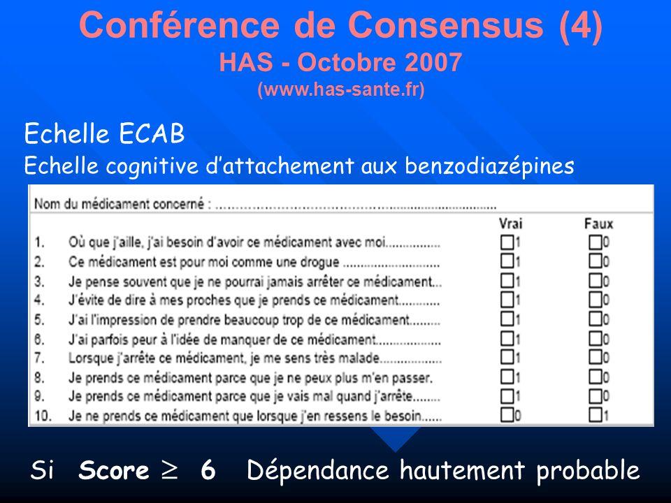 Conférence de Consensus (4) HAS - Octobre 2007 (www.has-sante.fr)