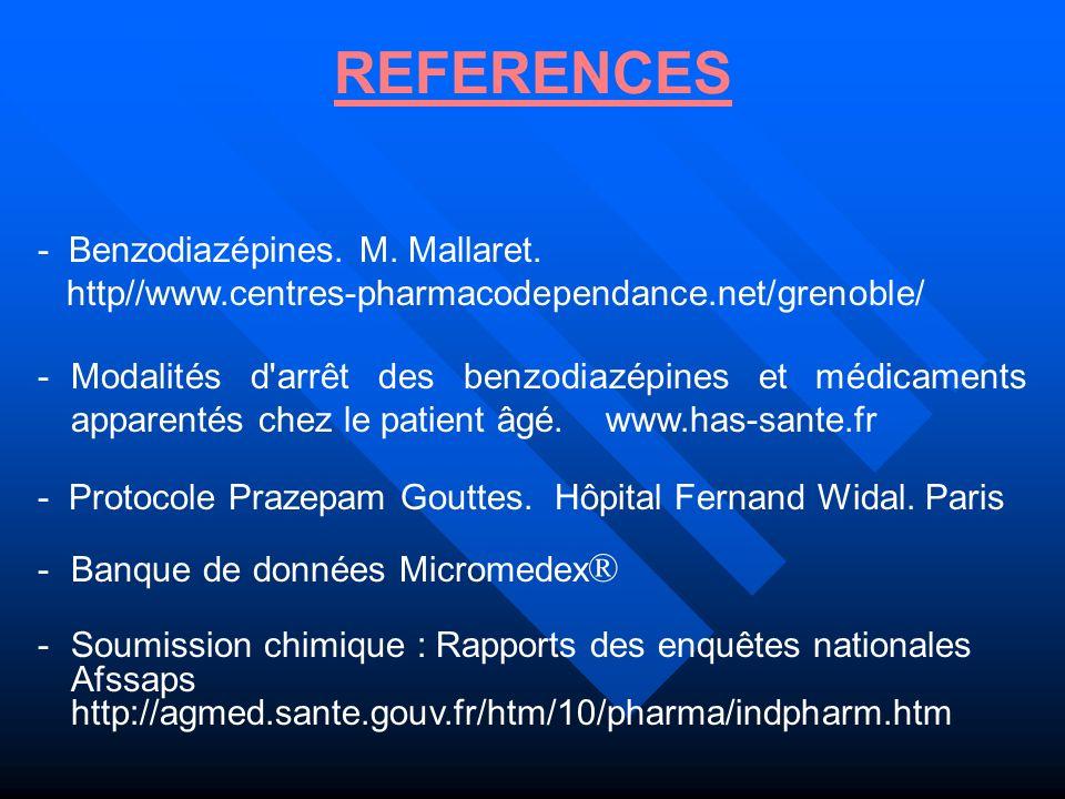 REFERENCES - Benzodiazépines. M. Mallaret.