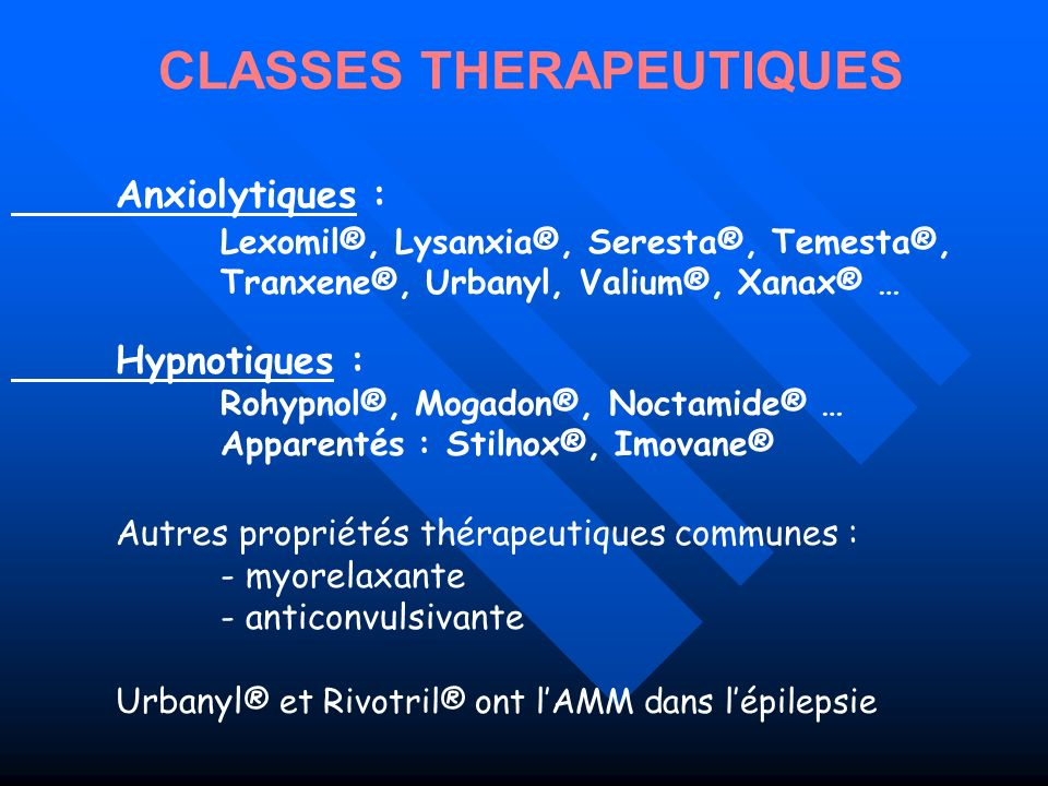 CLASSES THERAPEUTIQUES