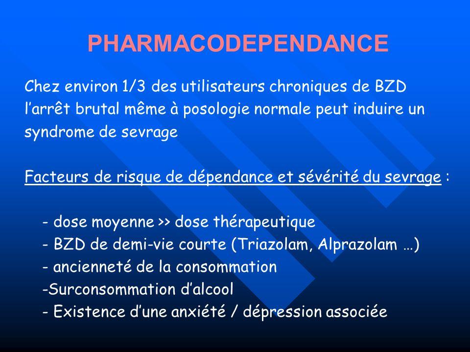 PHARMACODEPENDANCE Chez environ 1/3 des utilisateurs chroniques de BZD
