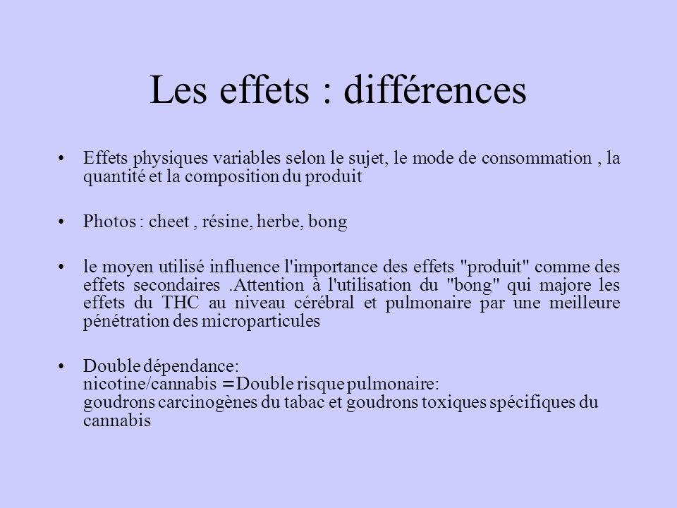 Les effets : différences