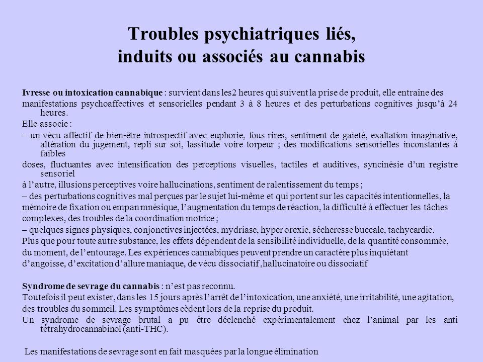 Troubles psychiatriques liés, induits ou associés au cannabis