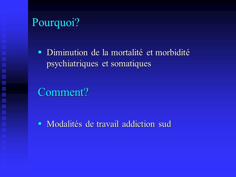 Pourquoi. Diminution de la mortalité et morbidité psychiatriques et somatiques.