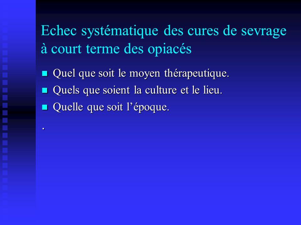 Echec systématique des cures de sevrage à court terme des opiacés