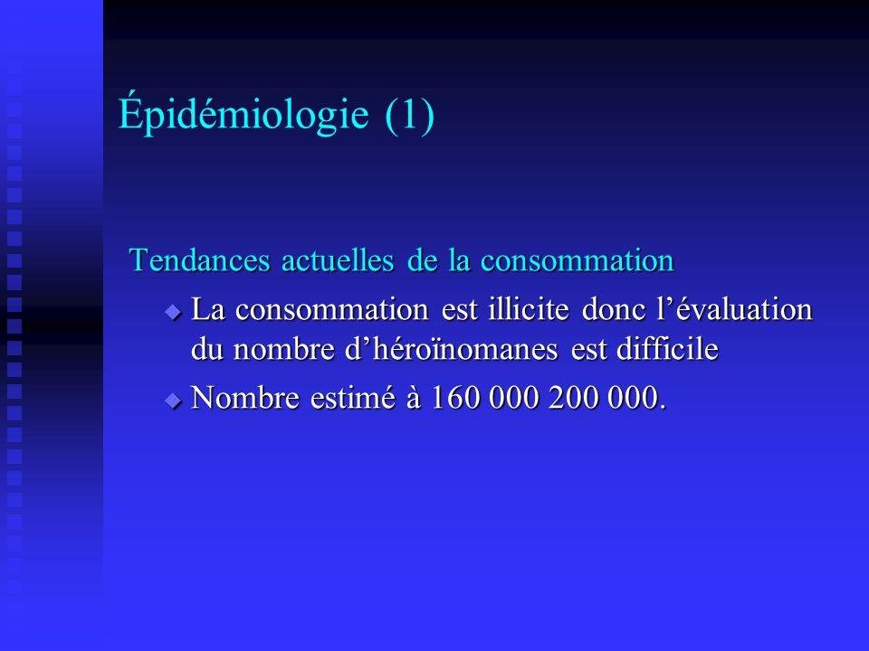 Épidémiologie (1) Tendances actuelles de la consommation