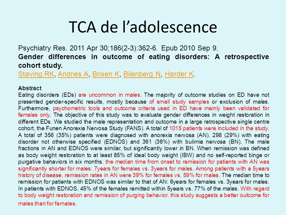TCA de l'adolescence Psychiatry Res. 2011 Apr 30;186(2-3):362-6. Epub 2010 Sep 9.
