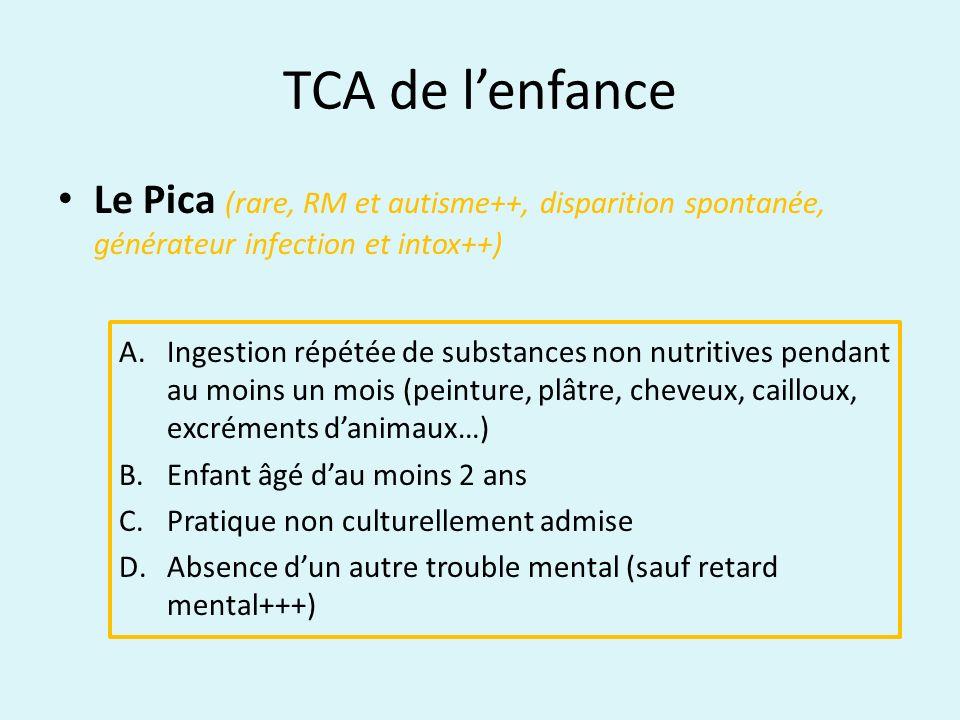 TCA de l'enfanceLe Pica (rare, RM et autisme++, disparition spontanée, générateur infection et intox++)