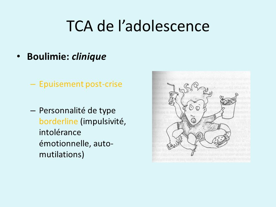 TCA de l'adolescence Boulimie: clinique Epuisement post-crise