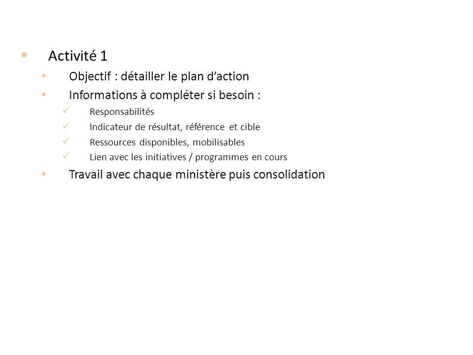 Activité 1 Objectif : détailler le plan d'action