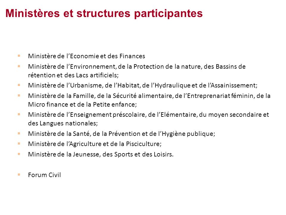 Ministères et structures participantes