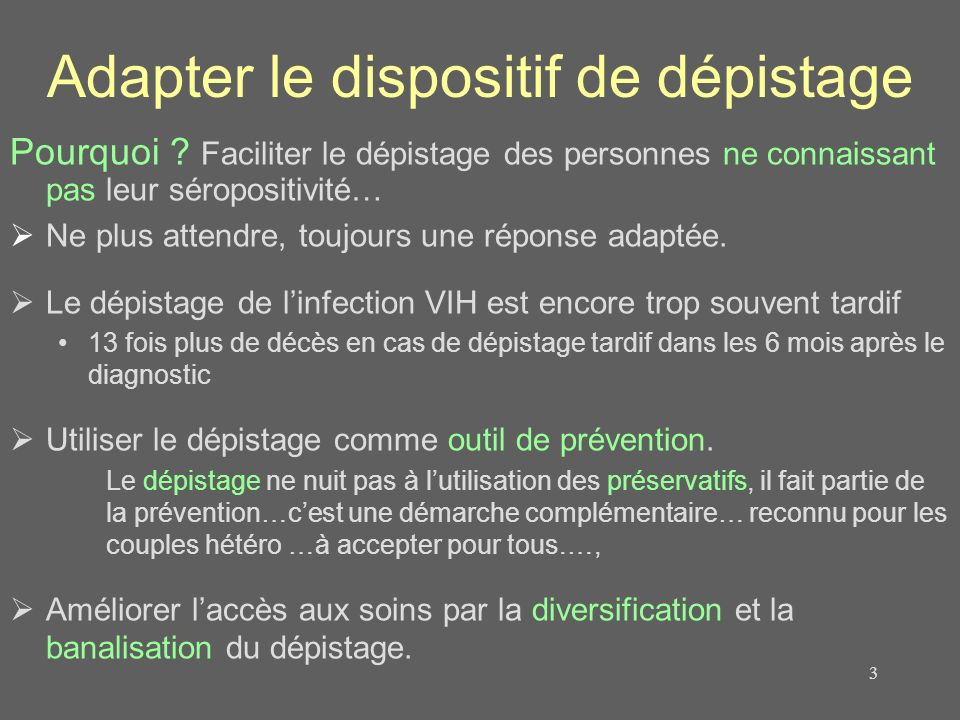 Adapter le dispositif de dépistage