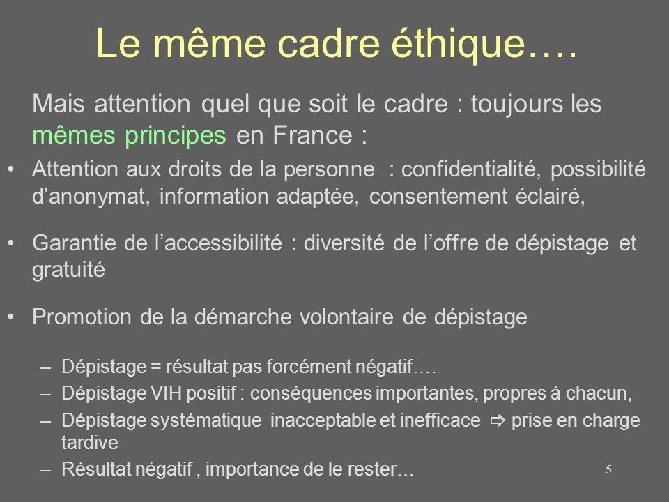 Le même cadre éthique…. Mais attention quel que soit le cadre : toujours les mêmes principes en France :