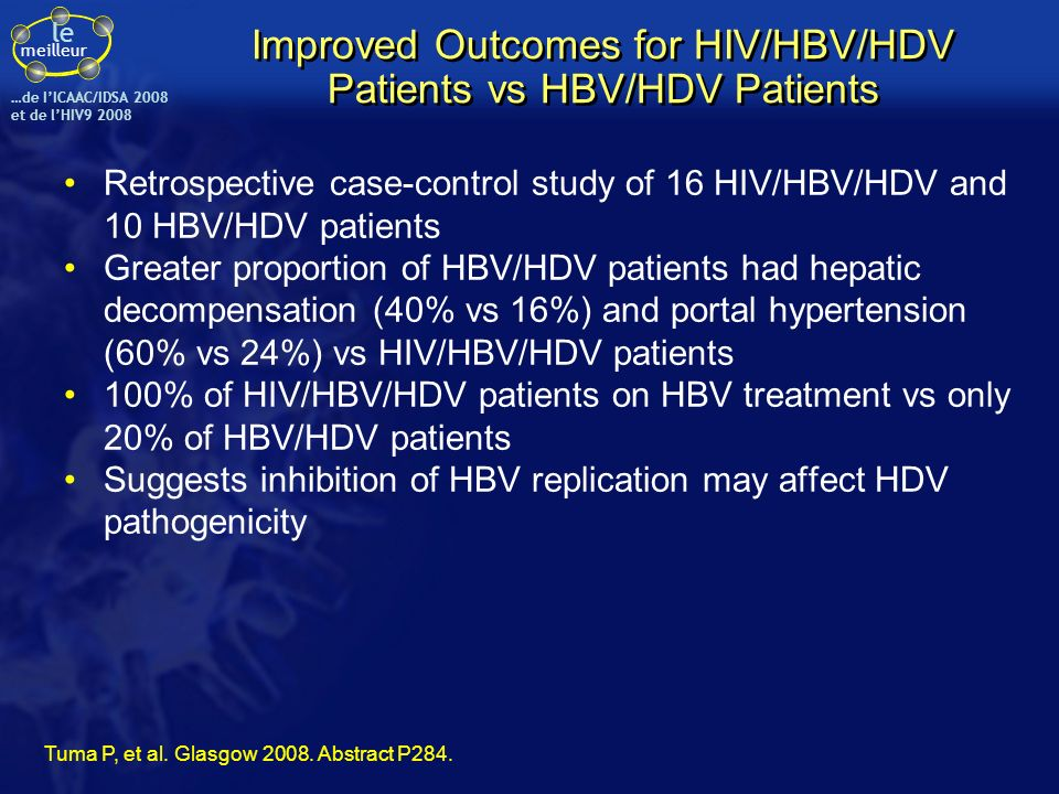 Improved Outcomes for HIV/HBV/HDV Patients vs HBV/HDV Patients