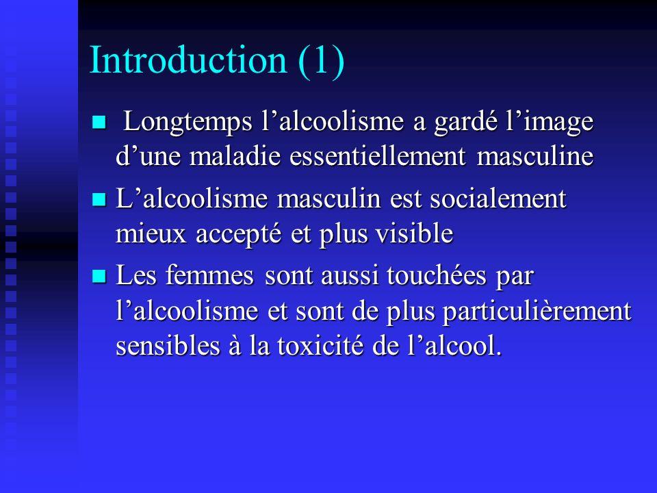 Introduction (1) Longtemps l'alcoolisme a gardé l'image d'une maladie essentiellement masculine.