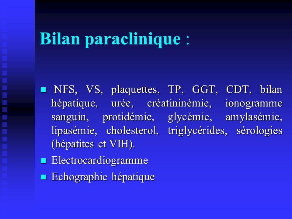 Bilan paraclinique :