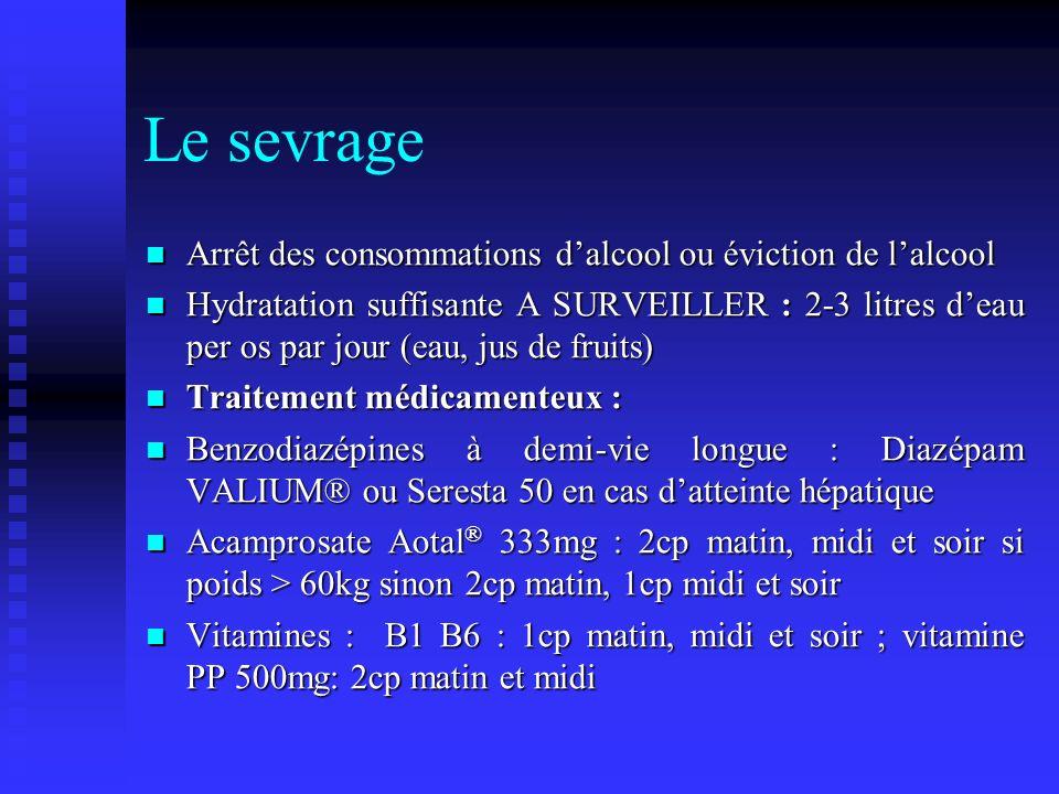 Le sevrage Arrêt des consommations d'alcool ou éviction de l'alcool