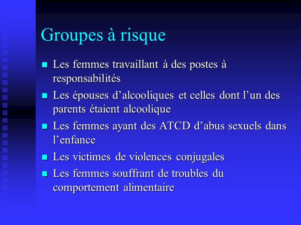 Groupes à risque Les femmes travaillant à des postes à responsabilités