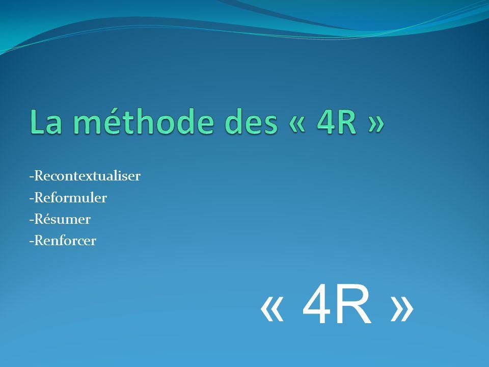 « 4R » La méthode des « 4R » -Recontextualiser -Reformuler -Résumer