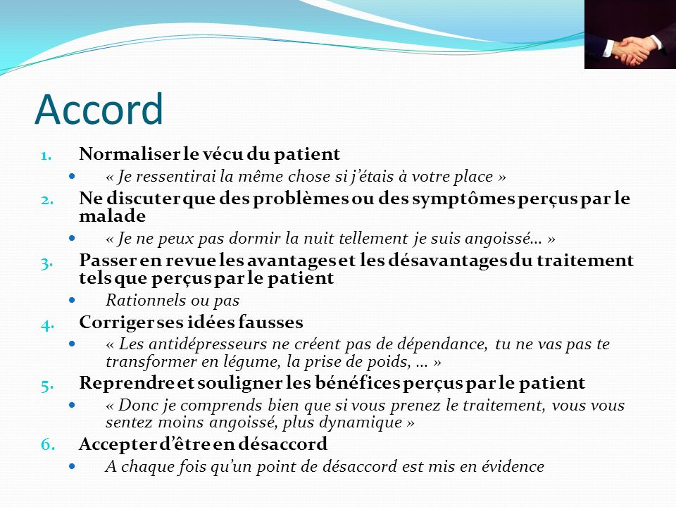 Accord Normaliser le vécu du patient