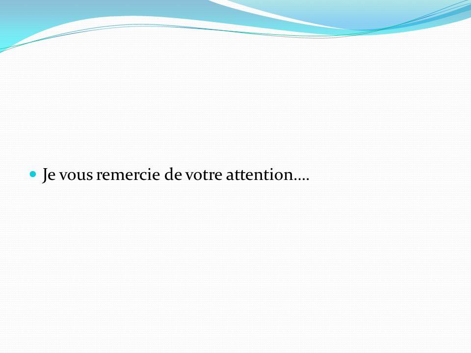 Je vous remercie de votre attention….