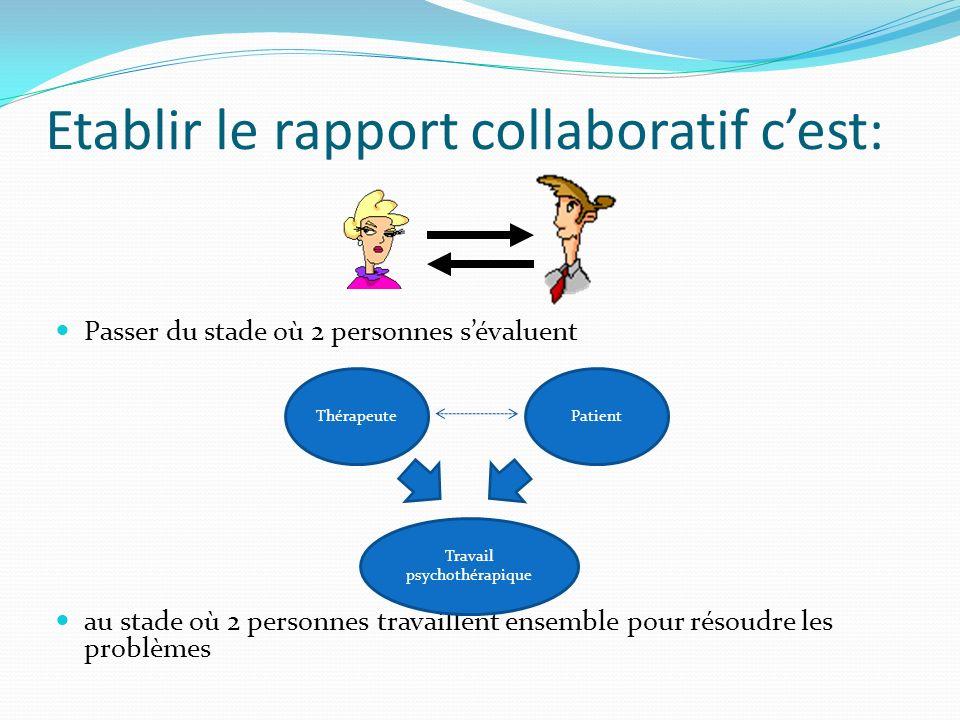 Etablir le rapport collaboratif c'est: