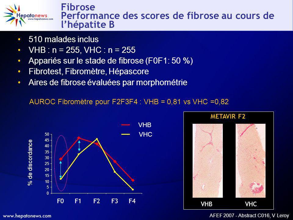 Fibrose Performance des scores de fibrose au cours de l'hépatite B