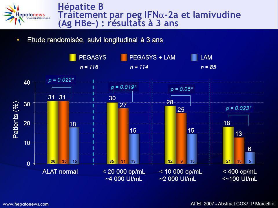 Hépatite B Traitement par peg IFN-2a et lamivudine (Ag HBe-) : résultats à 3 ans