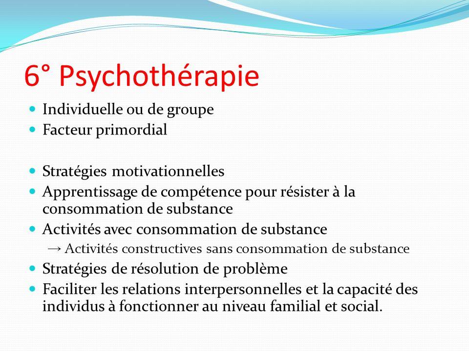 6° Psychothérapie Individuelle ou de groupe Facteur primordial