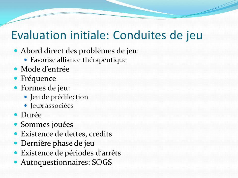 Evaluation initiale: Conduites de jeu