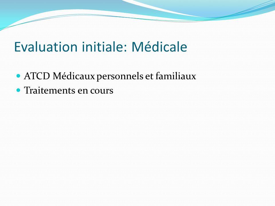 Evaluation initiale: Médicale