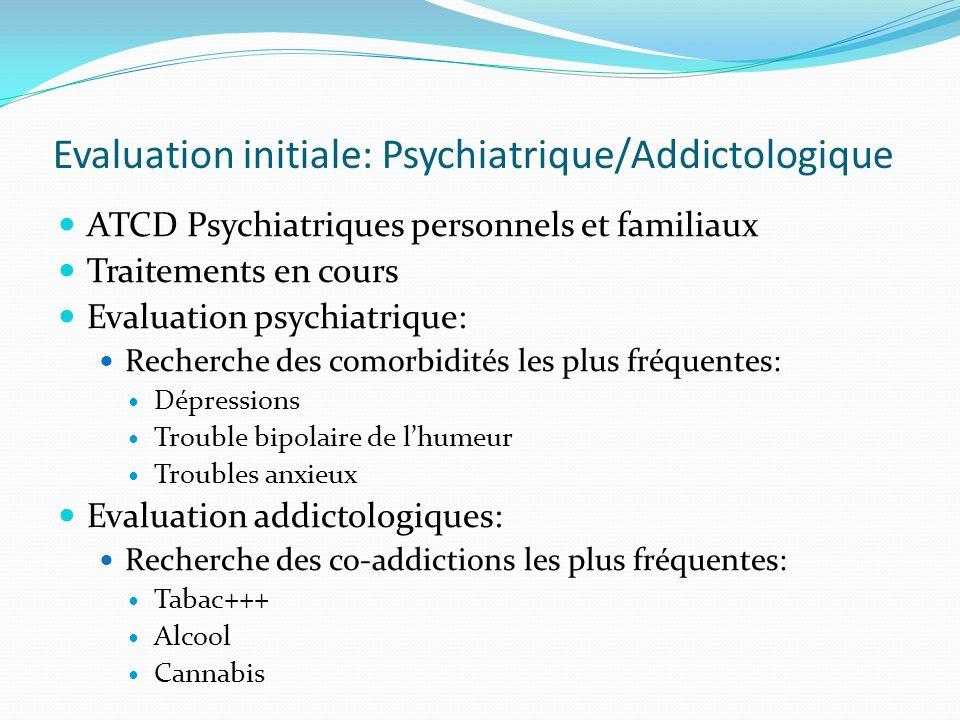 Evaluation initiale: Psychiatrique/Addictologique