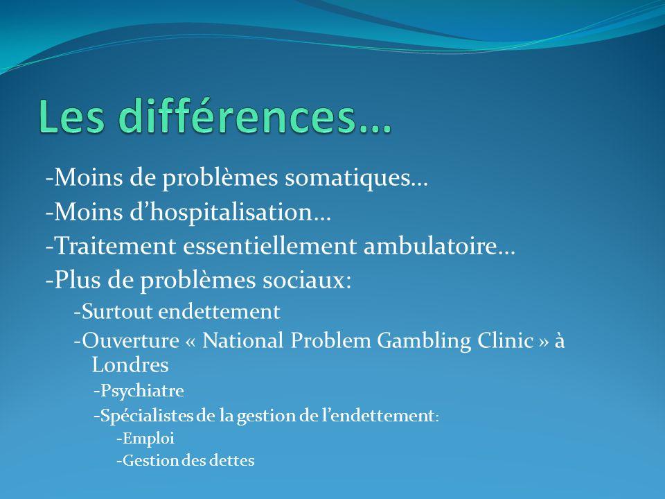 Les différences… -Moins de problèmes somatiques…