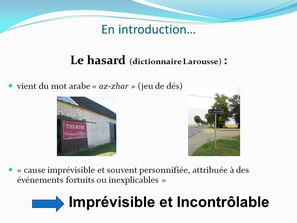 Le hasard (dictionnaire Larousse) :