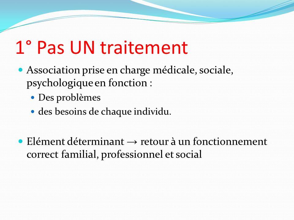 1° Pas UN traitement Association prise en charge médicale, sociale, psychologique en fonction : Des problèmes.