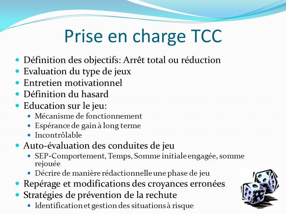 Prise en charge TCC Définition des objectifs: Arrêt total ou réduction