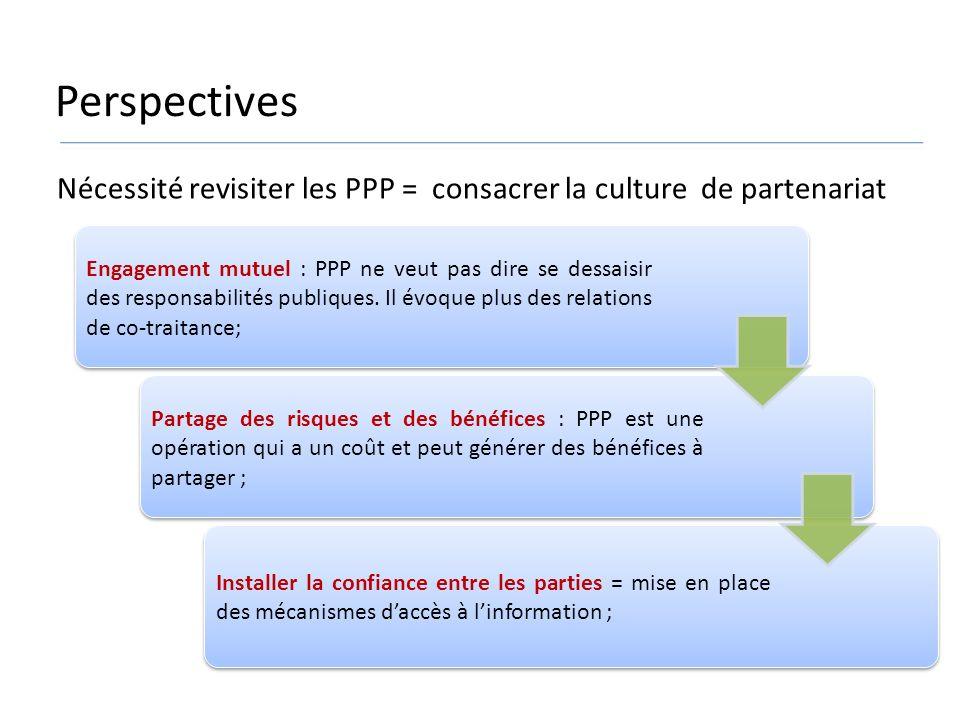Perspectives Nécessité revisiter les PPP = consacrer la culture de partenariat.