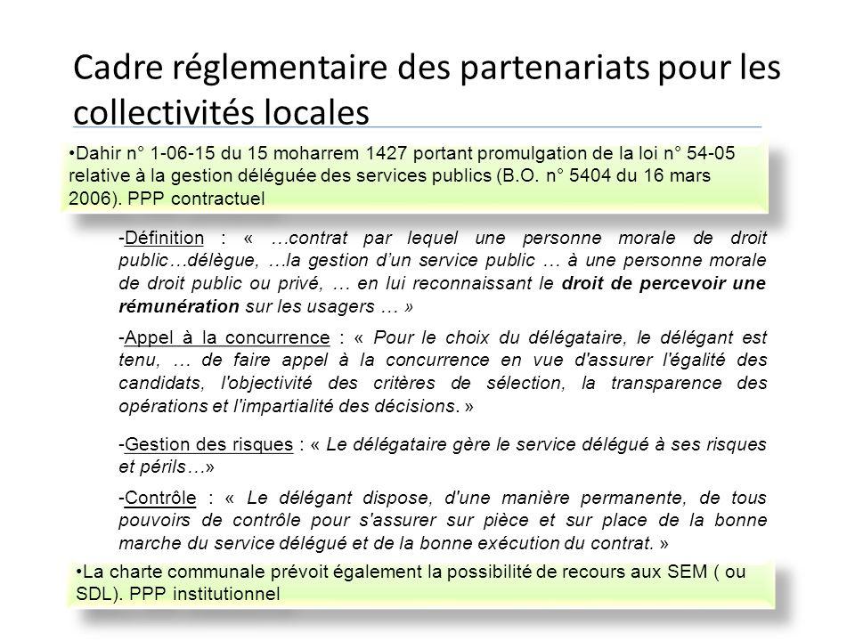 Cadre réglementaire des partenariats pour les collectivités locales