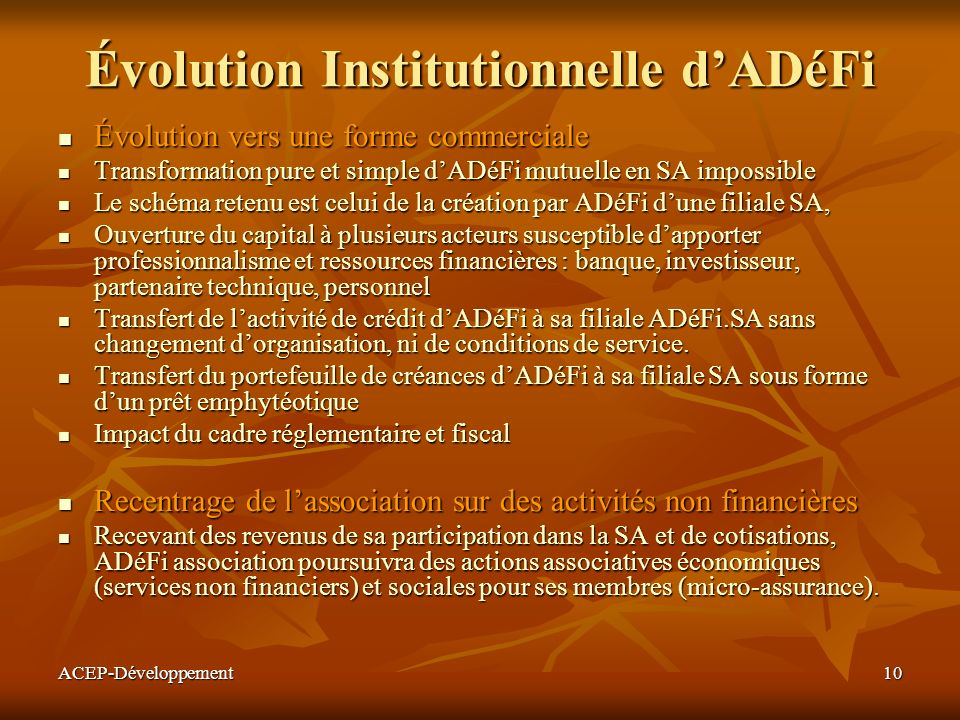Évolution Institutionnelle d'ADéFi