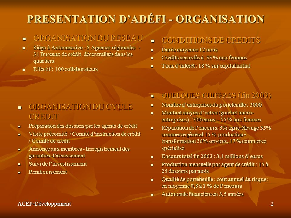 PRESENTATION D'ADÉFI - ORGANISATION