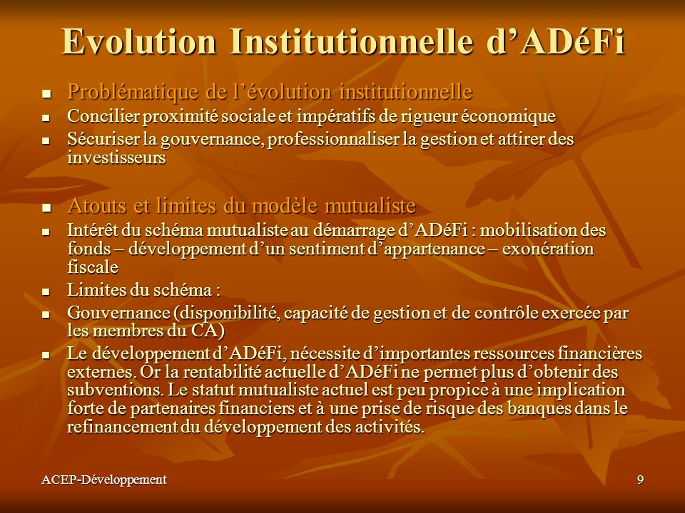 Evolution Institutionnelle d'ADéFi