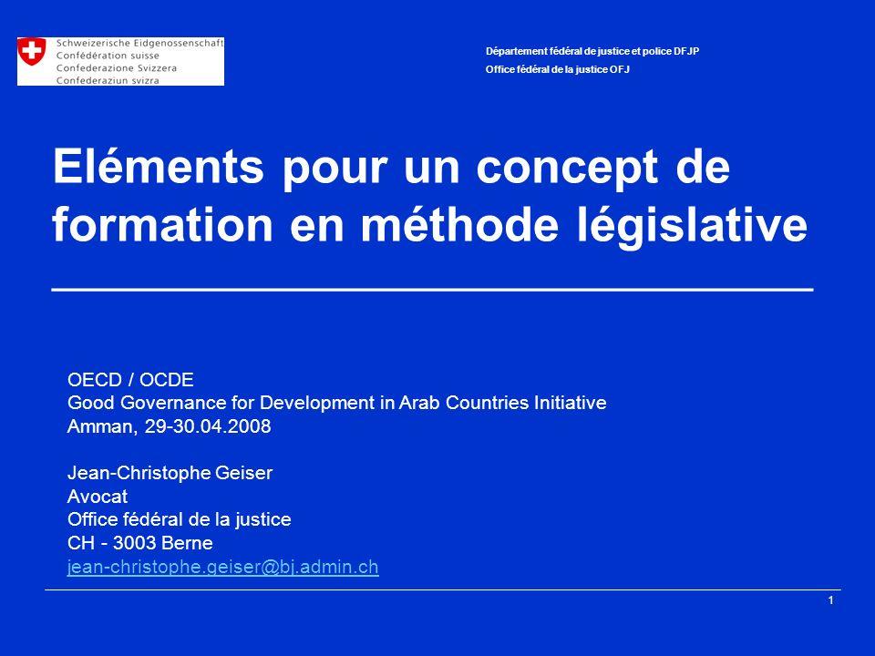 Eléments pour un concept de formation en méthode législative ________________________________________