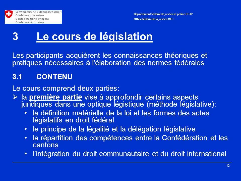 3 Le cours de législation