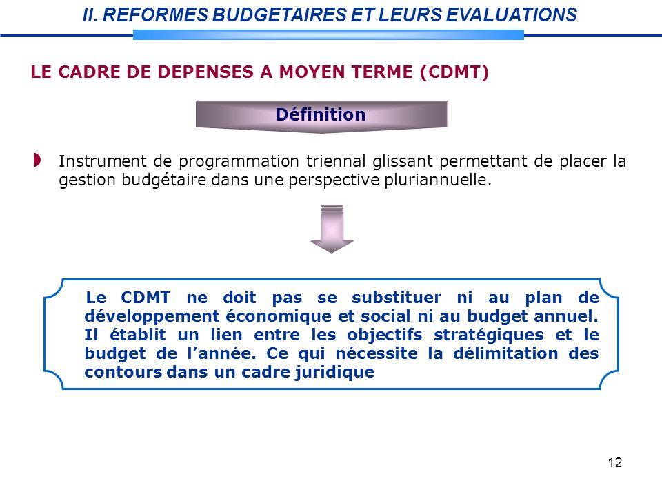 II. REFORMES BUDGETAIRES ET LEURS EVALUATIONS