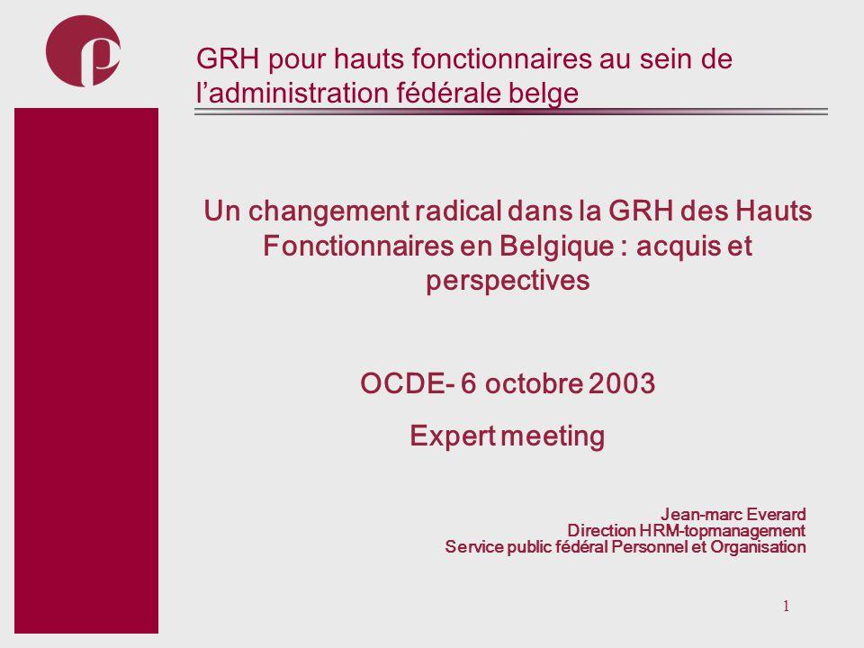 GRH pour hauts fonctionnaires au sein de l'administration fédérale belge