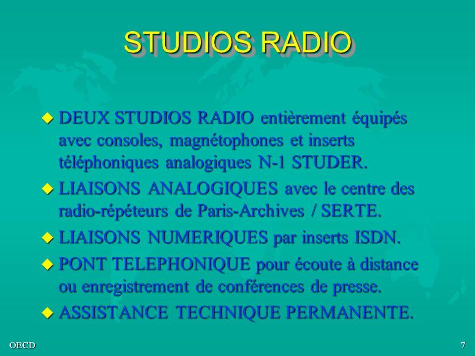 STUDIOS RADIO DEUX STUDIOS RADIO entièrement équipés avec consoles, magnétophones et inserts téléphoniques analogiques N-1 STUDER.